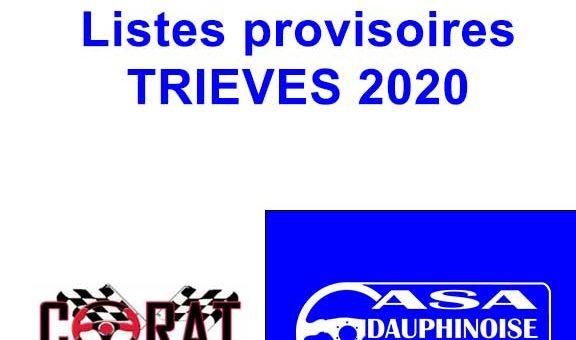 Listes provisoires Rallye du Trièves au 08 juillet 2020